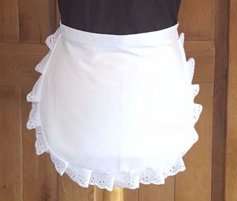 LADIES Victorian / Edwardian WAIST White Maids Apron EMBROIDERY  ANGLAISE TRIM